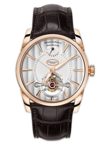 Parmigiani Tonda Tourbillion Rose Fold Silver Dial Watch